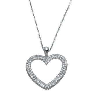 Plutus Sterling Silver High Polish Round-Cut Cubic Zirconia Heart Pendant