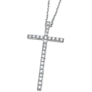 Plutus Sterling Silver High Polish Cubic Zirconia Cross Pendant