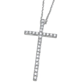 Plutus Sterling Silver High Polish Cubic Zirconia Cross Pendant