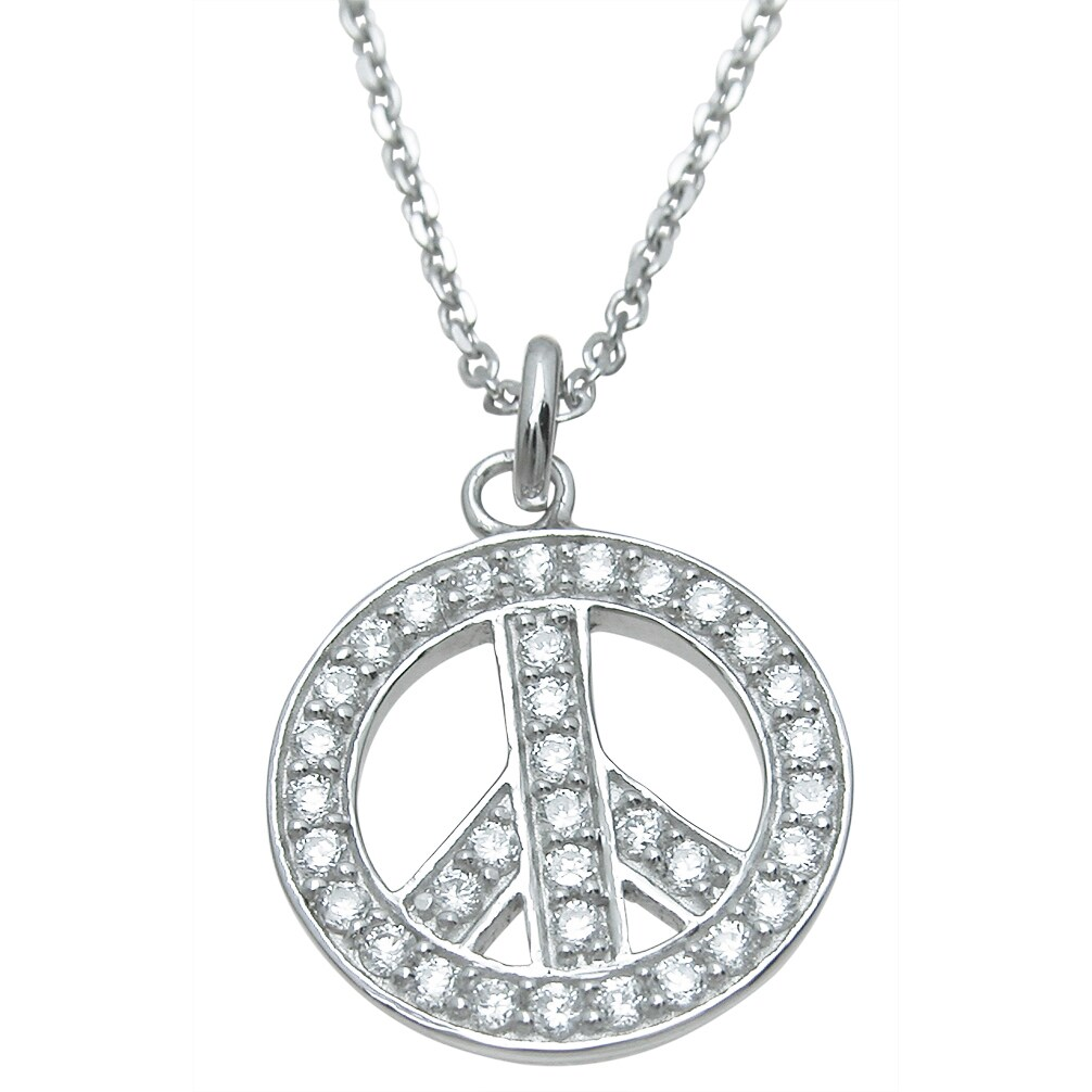 Plutus Sterling Silver High Polish Cubic Zirconia Peace S...