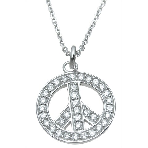 Plutus Sterling Silver High Polish Cubic Zirconia Peace Sign Pendant