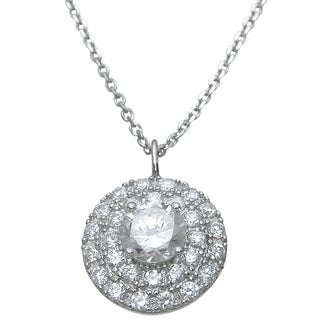 Plutus Sterling Silver Round-cut Cubic Zirconia High Polish Circle Pendant