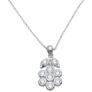 Plutus Sterling Silver High Polish Cubic Zirconia Round-cut Flower Pendant