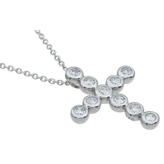Plutus Sterling Silver High Polish Cubic Zirconia Round-cut Cross Pendant