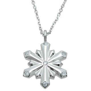 Plutus Sterling Silver High Polish Cubic Zirconia Snow Flake Pendant
