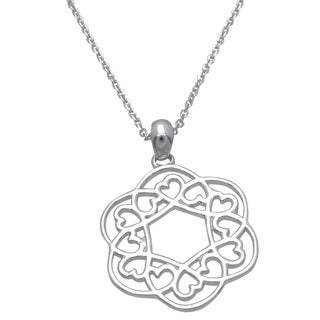 Plutus Sterling Silver High Polish Open Circle Heart Pendant