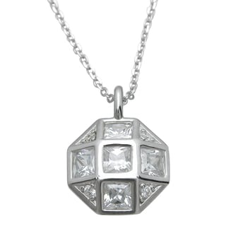 Plutus Sterling Silver High Polish Cubic Zirconia Princess-cut Octogan Pendant