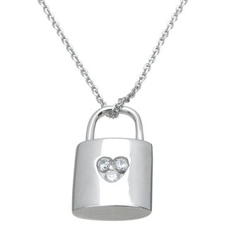 Plutus High Polish Sterling Silver Round-cut Cubic Zirconia Lock Pendant