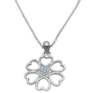 Plutus High Polish Sterling Silver Cubic Zirconia Heart Star Pendant