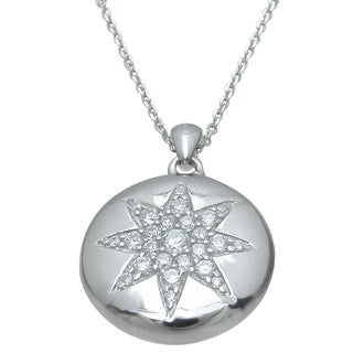 Plutus High Polish Sterling Silver Cubic Zirconia Circle Flower Pendant