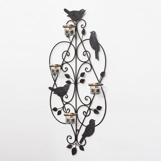 Adeco Decorative Iron Wall Hanging Tea Light Hearts and Birds Candle Holder