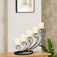 Adeco Decorative Iron Tabletop 5-Candle Pillar Sloping Design Candle Holder