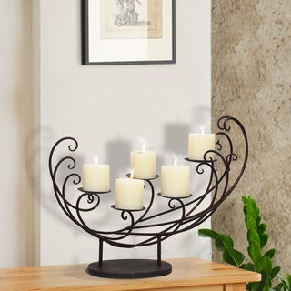 Adeco Decorative Iron Tabletop 4-Candle Pillar Scoop Sleigh Design Candle Holder