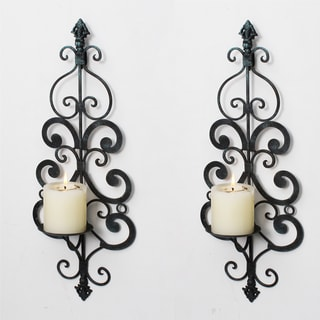 Adeco Decorative Iron Vertical Wall Hanging Pillar Candle Holder (Set of 2)