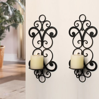 Adeco Decorative Iron Vertical Wall Hanging Pillar Mirrored Hearts Candle Holder (Set of 2)