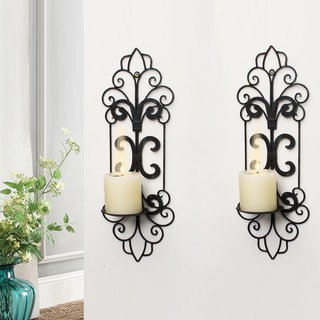 Adeco Decorative Iron Vertical Wall Hanging Pillar Traditional Candle Holder (Set of 2)