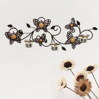 Adeco Decorative Rustic Bronze-Color Iron Wall Hanging Tea Light Butterflies Candle Holder