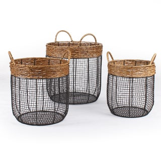 Adeco Black Iron Wire Round Scoop Basket with Seagrass-Wrapped Rim and Handle with Mesh Body (Set of 3)