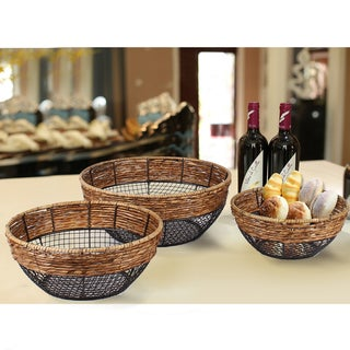 Adeco Black Iron Wire Round Wide-Mouth Basket with Seagrass-Wrapped Rim and Mesh Body (Set of 3)