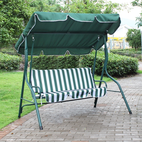 Adeco Green And White Stripes Canopy Awning Porch Swings Bench : porch glider with canopy - memphite.com