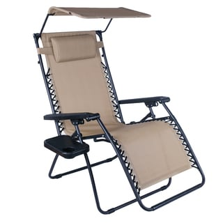 Adeco OutdoorFolding and Reclining ZeroGravityChair with Awning