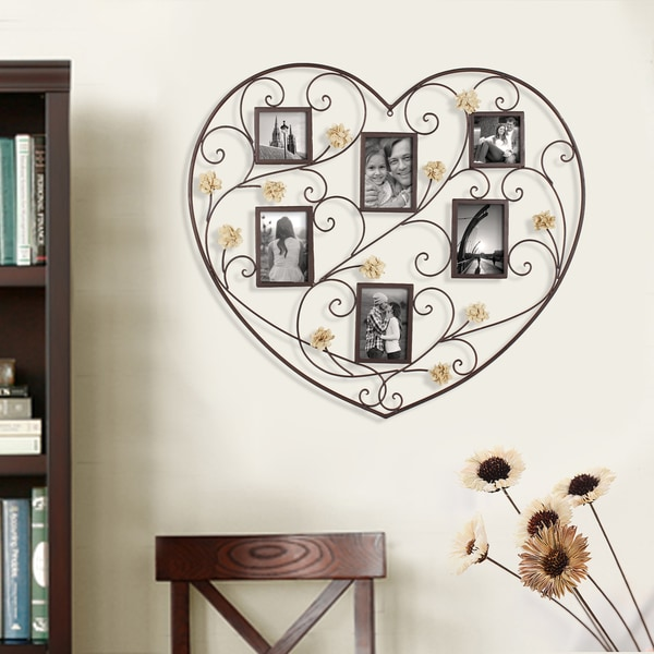 Adeco Decorative Black Iron Heart-Shape 6 Opening Picture Frame Collage with Scroll and Burlap Flower Design