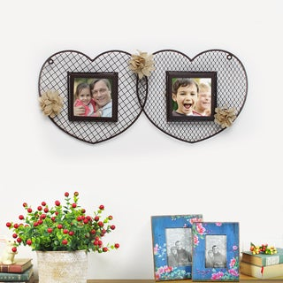Adeco Decorative Black Iron Double Heart 2 Opening Picture Frame with Wire Mesh and Burlap Flowers