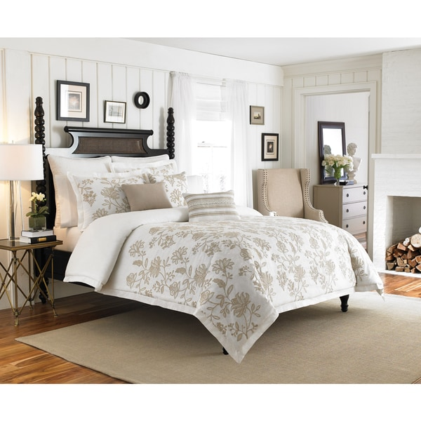 Croscill Devon Embroidered  Floral Cotton Duvet Cover