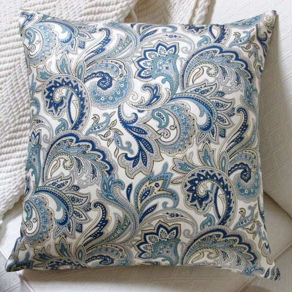 Porcelain Blue Decorative Pillows : Artisan Pillows Indoor 20-inch Montero Lustrous Paisley in Porcelain Blue Accent Throw Pillow ...
