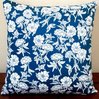 Artisan Pillows Indoor 20-inch Sateen Peony Flowers in Indigo/Navy Blue Throw Pillow