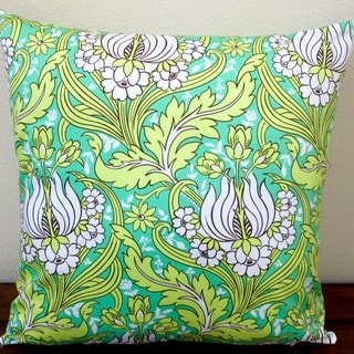 Artisan Pillows Indoor 20-inch Sateen Tulips in Emerald Green Throw Pillow Cover
