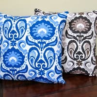 Artisan Pillows Indoor 20-inch Grand Ikat Blue or Charcoal Modern Floral Accent Throw Pillow Cover