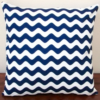 Artisan Pillows Indoor 20-inch Wave Canvas in Navy Blue Throw Pillow Cover