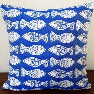 Artisan Pillows Kids Outdoor 18-inch School of Fish Mariner in Blue Throw Pillow Cover (Set of 2)