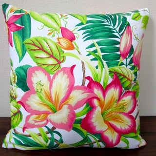Artisan Pillows Indoor 20-inch Tommy Bahama Botanical Glow Tangelo Tropical Hibiscus Throw Pillow Cover