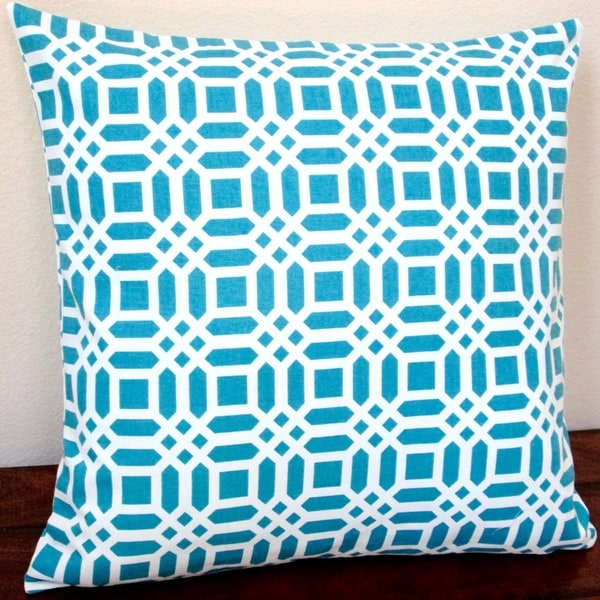 Artisan Pillows Indoor 20-inch Vivid Lattice in Teal Blue Throw Pillow Cover