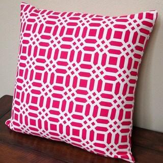 Artisan Pillows Indoor 20-inch Vivid Lattice in Fuchsia/Hot Pink Throw Pillow Cover