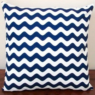 Artisan Pillows Indoor 20-inch Wave Canvas in Navy Blue Throw Pillow