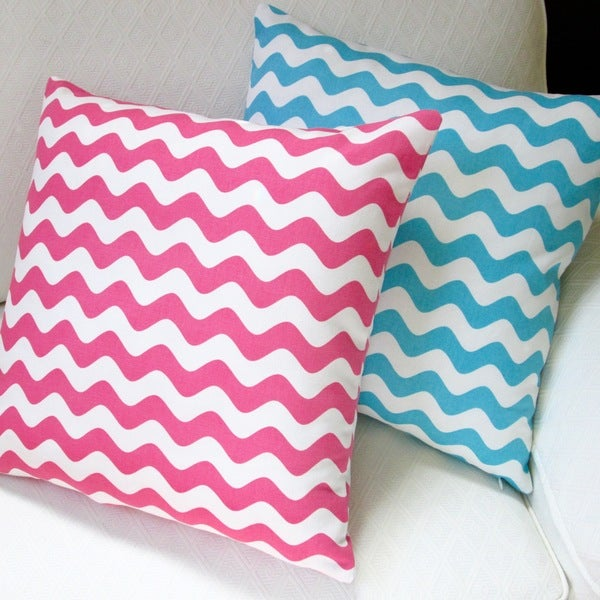 Artisan Pillows Kids Indoor 20-inch Wave Canvas in Hot Pink or Aqua Throw Pillow