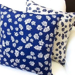 Artisan Pillows 20-inch Tossed Flowers Indigo Blue Linen Reversible Pillow Cover