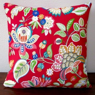 Artisan Pillows Outdoor 18-inch Floral in Red Modern Decorative Throw Pillow Cover (Set of 2)