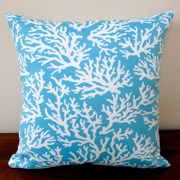 Artisan Pillows Outdoor 18-inch Coral in Pastel Blue Modern Beach House Throw Pillow (Set of 2 ...