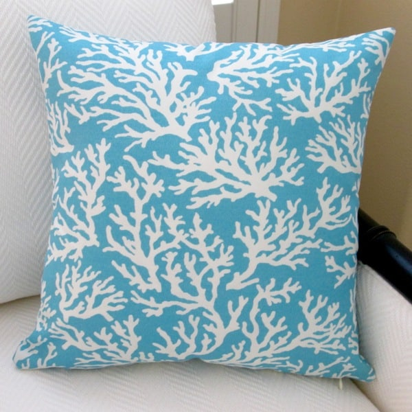 Artisan Pillows Outdoor 18-inch Coral in Pastel Blue Modern Beach House Throw Pillow Cover (Set ...