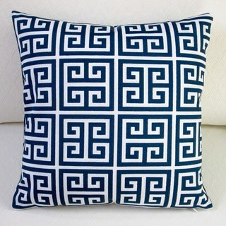 Artisan Pillows Outdoor Navy Blue Greek Key 18-inch Throw Pillow Cover (Set of 2)