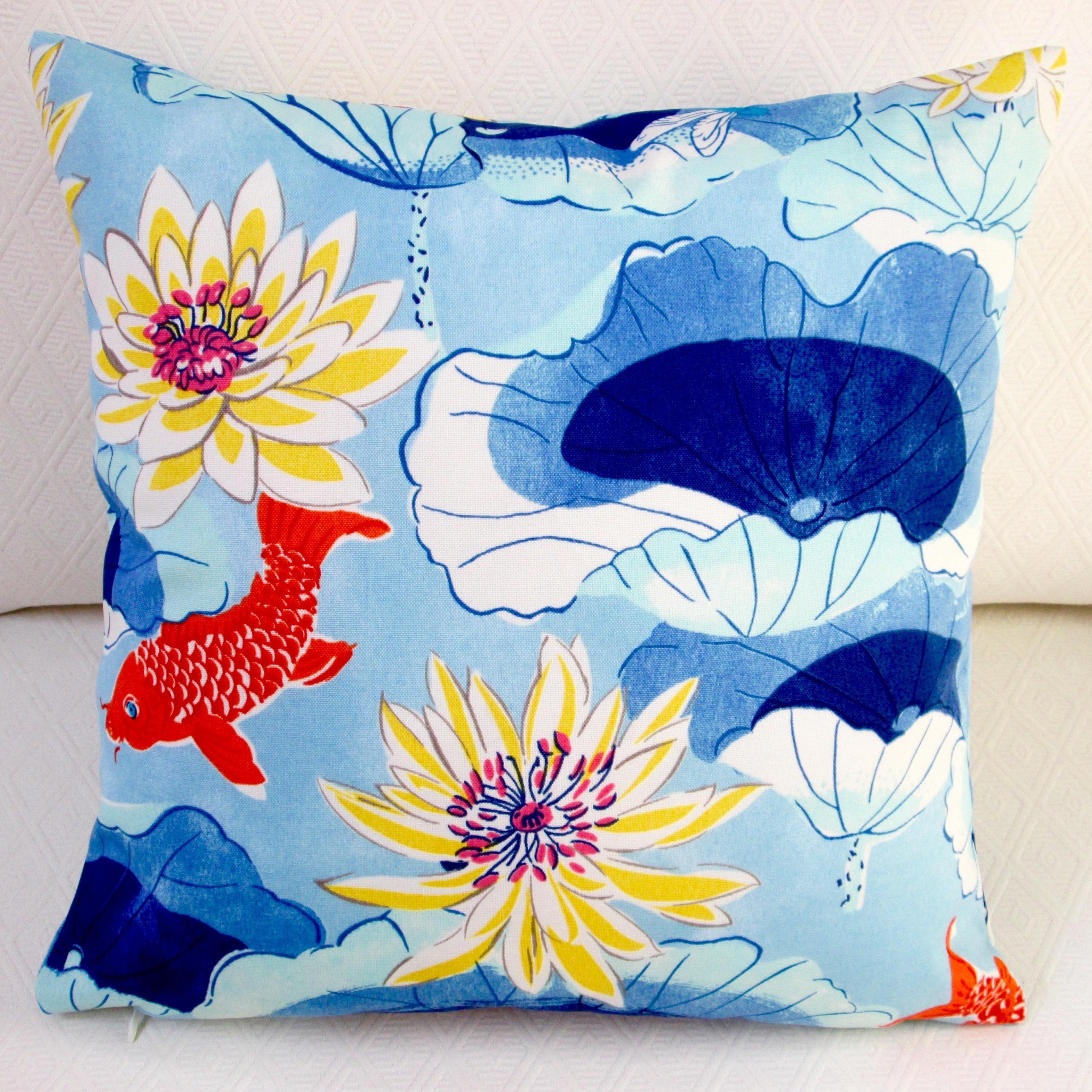 Artisan Pillows Indoor/Outdoor 18-inch Lotus Lake Koi Fis...