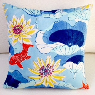 Artisan Pillows Indoor/Outdoor 18-inch Lotus Lake Koi Fish in Cobalt/Blue Throw Pillow Cover (Set of 2)