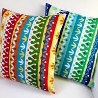 Artisan Pillows Indoor/Outdoor 18-inch Cotrell Stripes Garden or Lagoon Modern Geometric Throw Pillow (Set of 2)