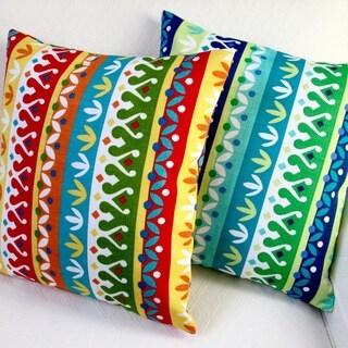 Artisan Pillows Indoor/Outdoor 18-inch Cotrell Stripes Garden or Lagoon Modern Geometric Throw Pillow Cover (Set of 2)