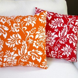 Artisan Pillows Indoor/Outdoor 18-inch Wexford Tangerine or Berry Modern Geometric Floral Throw Pillow (Set of 2)