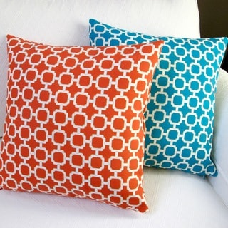 Artisan Pillows Outdoor 18-inch Hockley Mandarin or Teal Modern Geometric Throw Pillow Cover (Set of 2)
